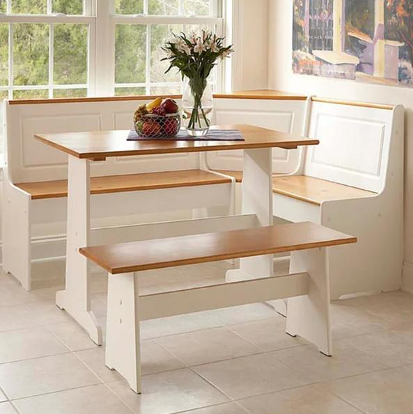 breakfest nook dining set with pine accents