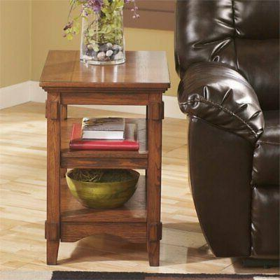 Medium Brown Chairside End Table w/ Shelves by Ashley Furnit