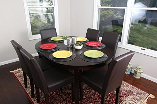 brown leather oval solid dining