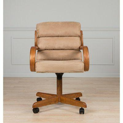 Brown Solid Wood Rolling Caster Dining Chair with Tilt and C