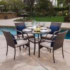 Outdoor Brown Wicker 5-piece Dining Set with Beige Cushions
