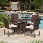 Outdoor 5-piece Brown Wicker Dining Set with Beige Cushions