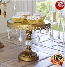 Wedding Cake Dessert Stand Antique Gold Crystal Beaded Mirro