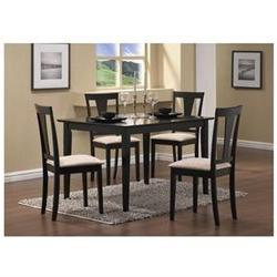 5pc Casual Dining Table and Chairs Set in Black Finish