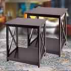 Set Of 2 Chair Side Table Coffee Sofa NightStand End Shelf L