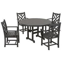 Chippendale 5 Piece Dining Set - Finish: Slate Grey