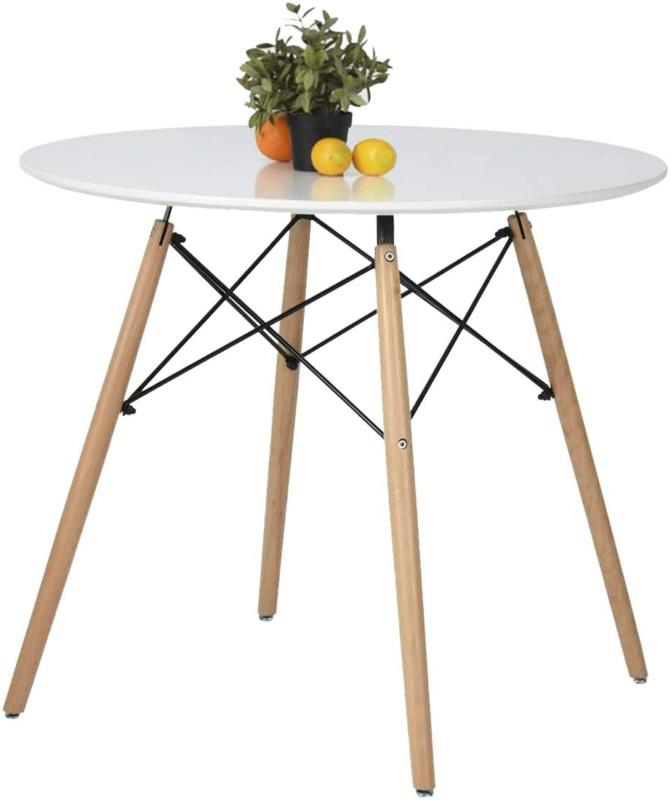 Coavas Kitchen Dining Table White Round Modern Tea T