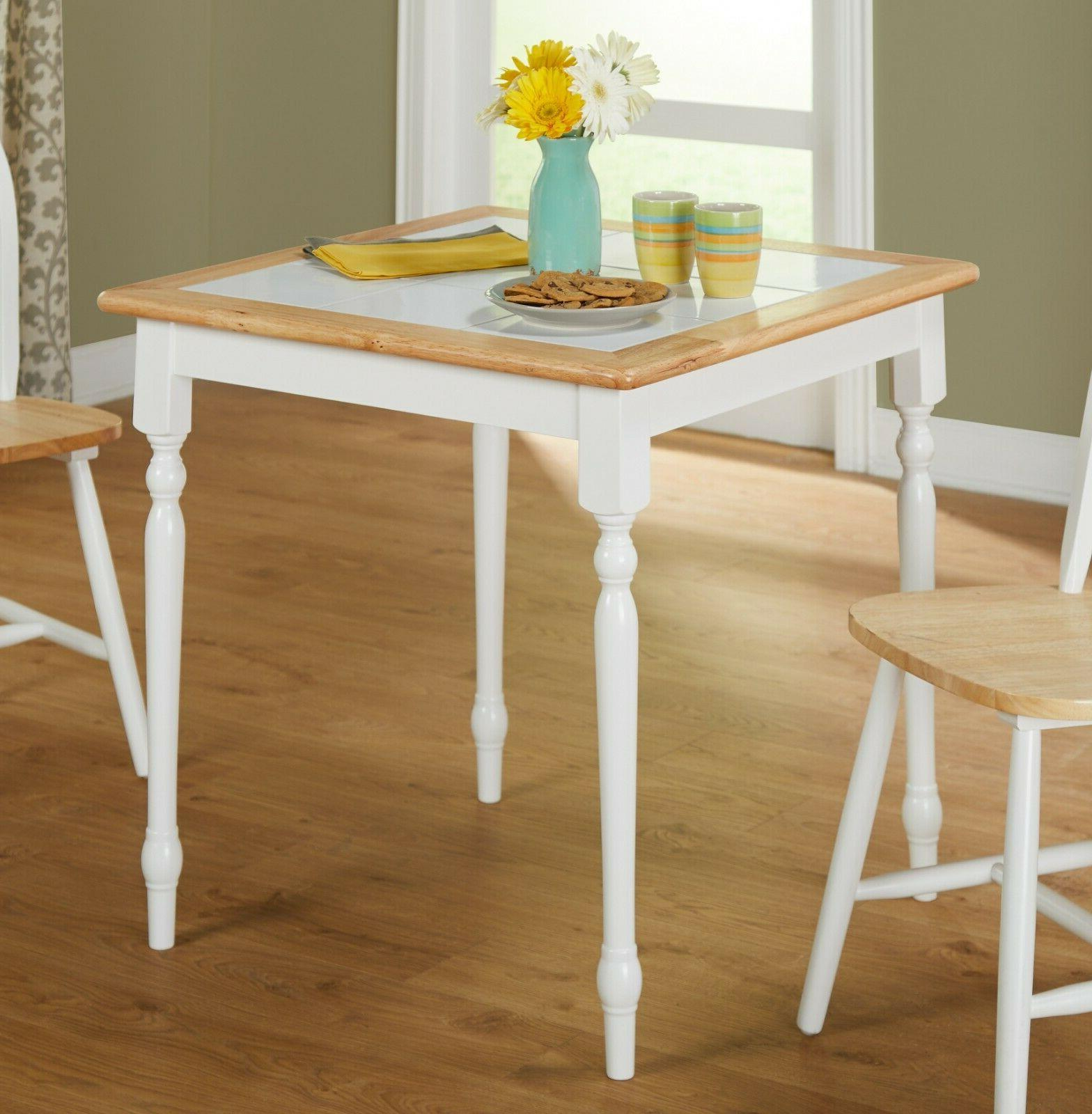 compact white dining table tile top small