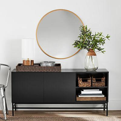 Contemporary Black Console Table for Entryway With Storage A