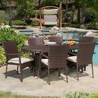 Contemporary Outdoor 7-piece Brown Wicker Dining Set with Be