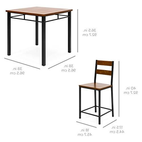 Best Products Wood Finish Counter w/ Bar Steel