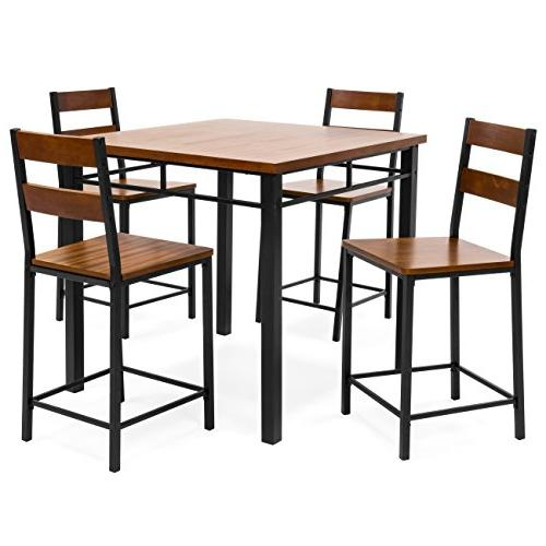 Best Choice Products Wood Finish Square Table Dining w/ 4 Bar Steel Frame