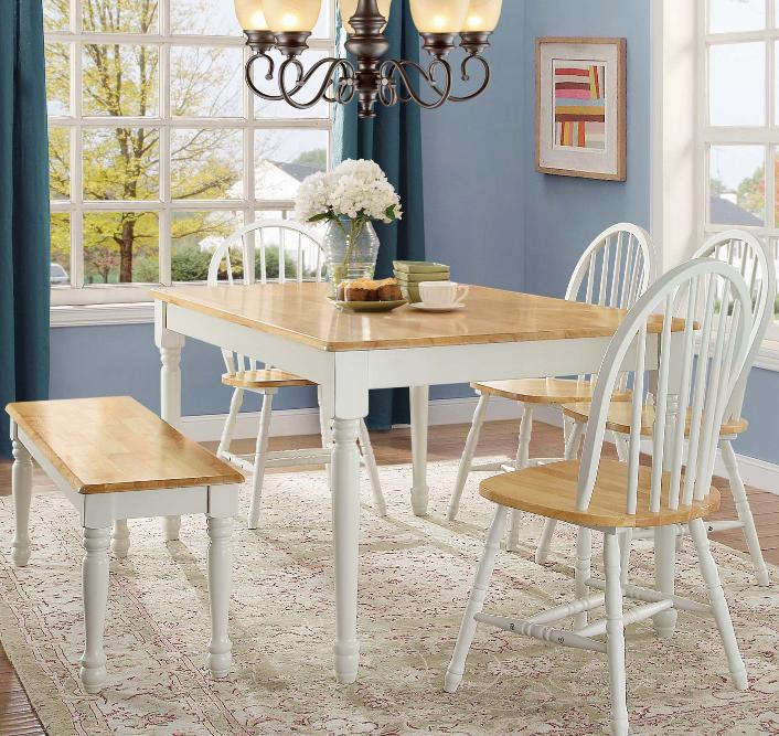Cottage Dining Table Kitchen Solid White