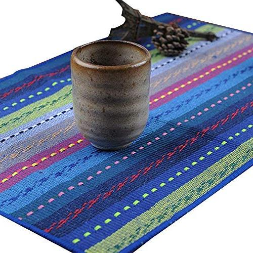 """WOOD MEETS COLOR Cotton Table Set of Washable 12"""""""