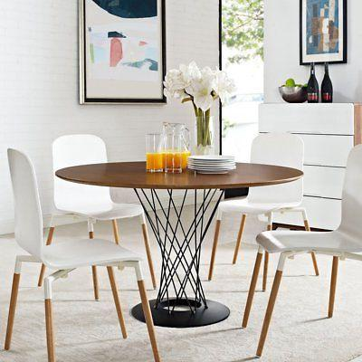 Modway Cyclone Wood Top Dining Table in Walnut