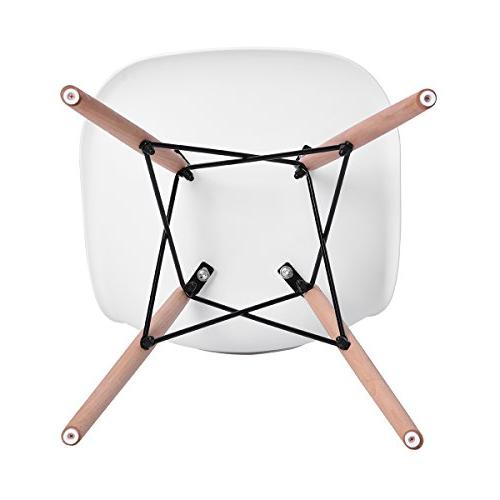 HOMY Modern Style Eames Height Natural Armless Dining, Living White Color, of 4