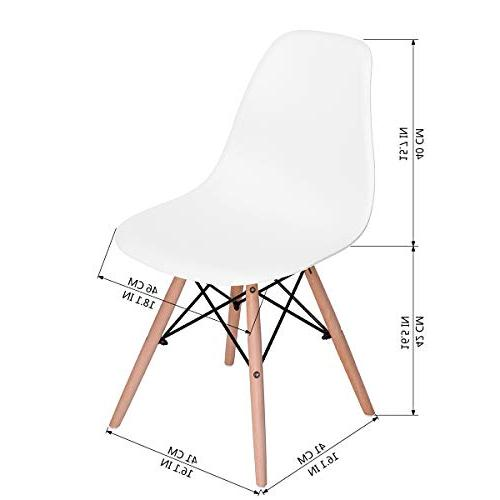 HOMY Modern Height Armless Chairs Dining, White of 4