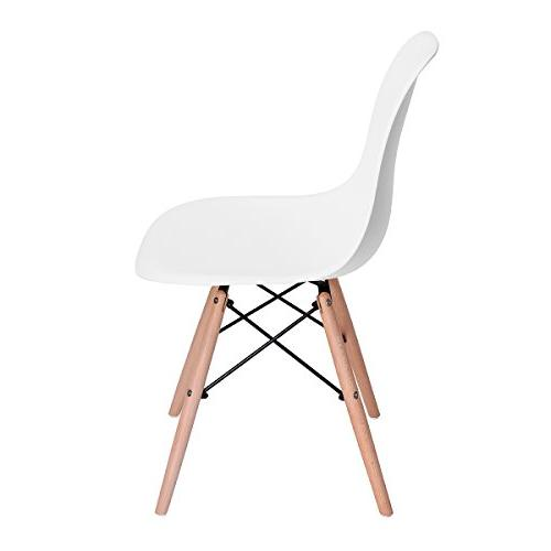 HOMY CASA Modern Height Natural Wood Legs Armless for Kitchen, Dining, Bedroom, Living White Color, 4