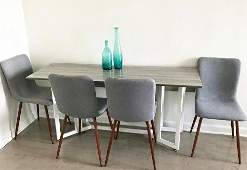 Coavas Set of Kitchen Cushion Chairs with Sturdy Legs Home Grey ¡