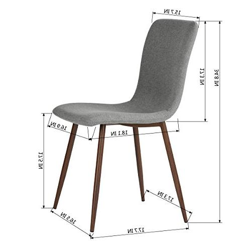 Coavas Set of 4 Kitchen Dining Cushion Side Chairs with Sturdy Metal for Grey