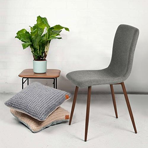 Coavas Set of Kitchen Dining Cushion Side Chairs with Sturdy Metal Home Grey