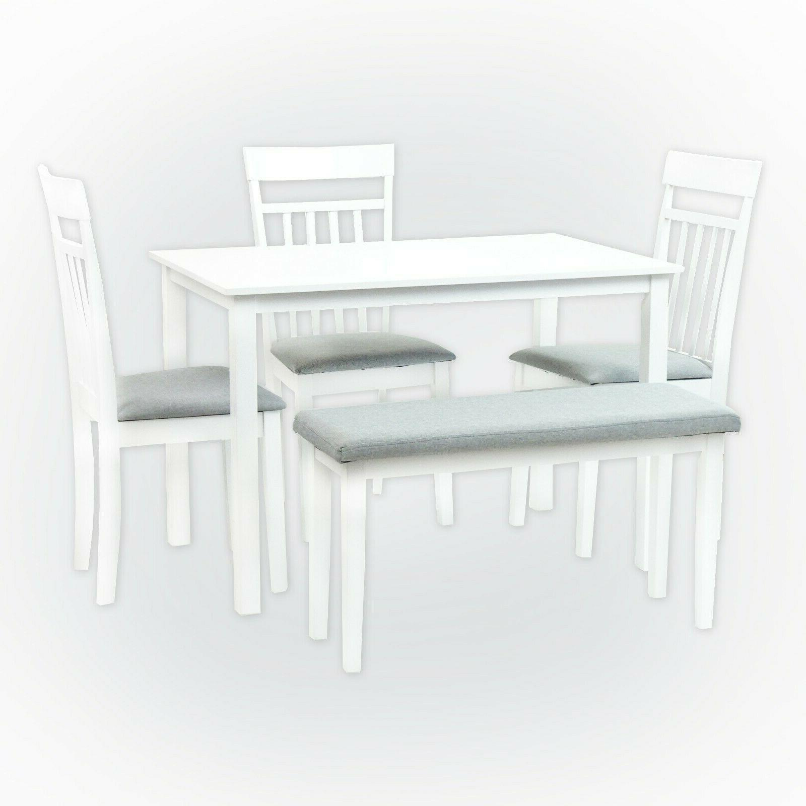 Dining Warm Chairs Bench White Finish