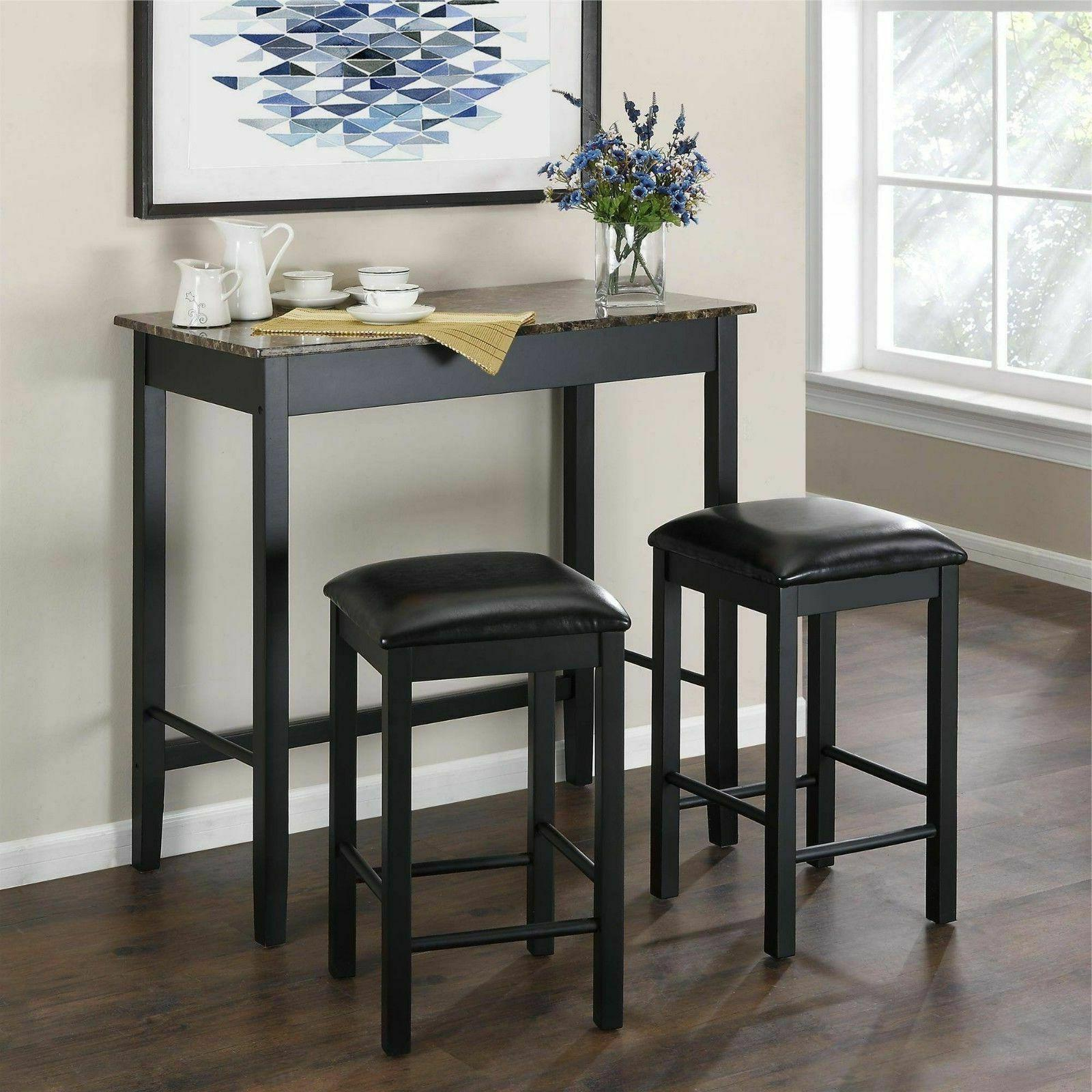 3 Piece Dining Pub Set Kitchen Counter Height Home Bar Leath