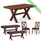 5 Pc Dining Room Set, 1 Table 2 Chairs 2 Benches Maddox Wood