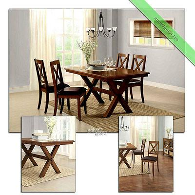 5 Pc Dining Room Set Table Chairs Maddox Crossing Wood Count