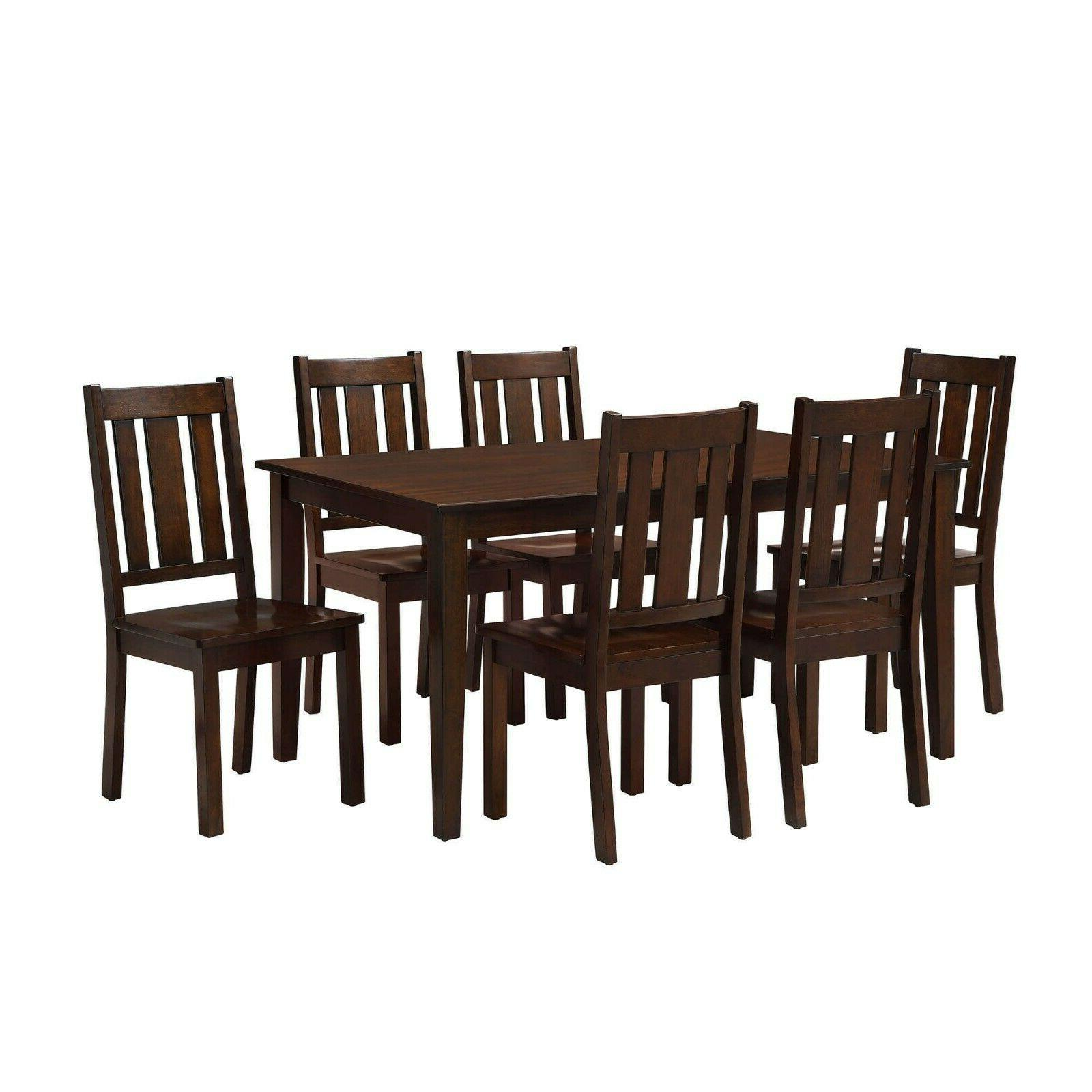 Dining Room Table Wooden Kitchen Tables Chairs Sets 7 Piece