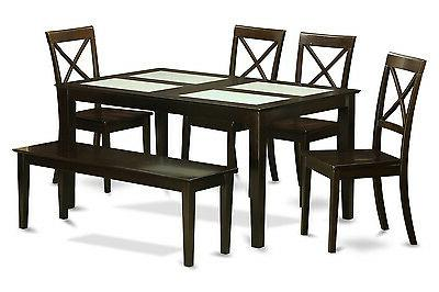 6 Piece dining set with bench - 4 Glass Insert Table Top and
