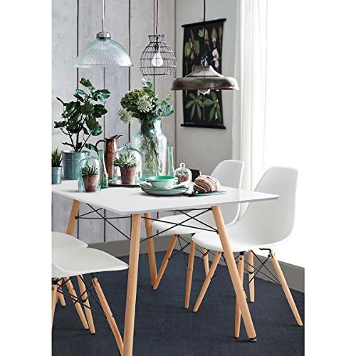 HOMY CASA Mid Modern Style Eames Armless for Kitchen, Dining, White Set 4