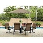 Outdoor Dining Set 7 Pc Deck Patio Furniture Glass Table Swi