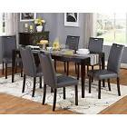 7-piece Dining Set Grey Faux Leather And Wedgewood Butterfly