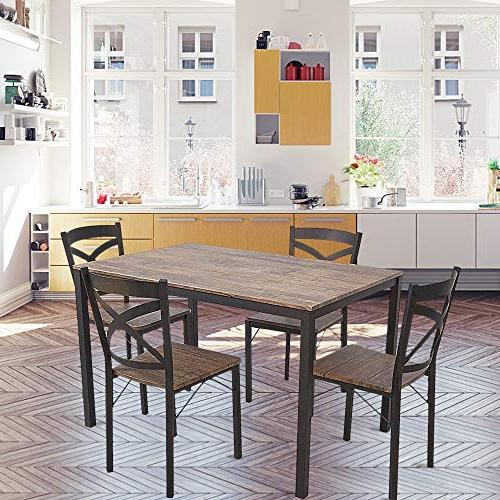 Dporticus Industrial Style Table and Chairs Metal