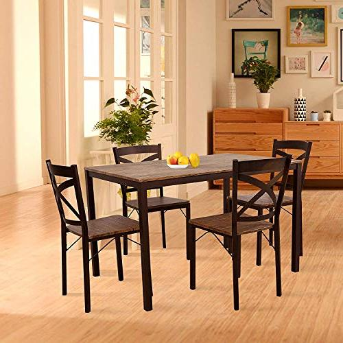 Dporticus Dining Set Industrial Style Table and with