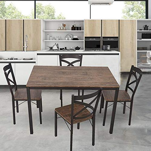 Dporticus 5-Piece Dining Industrial Style Table Chairs with Metal Legs-