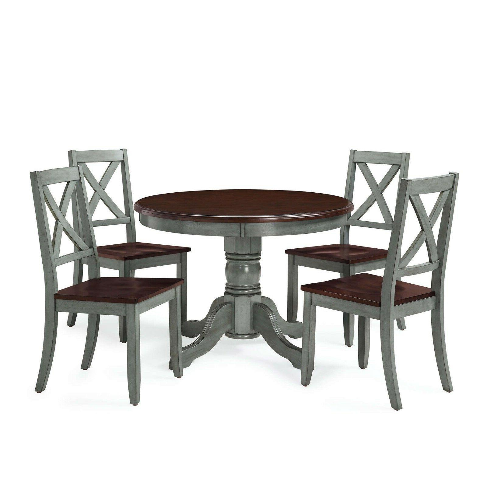 Farmhouse Dining Table Set Rustic Round Kitchen Tables Chairs