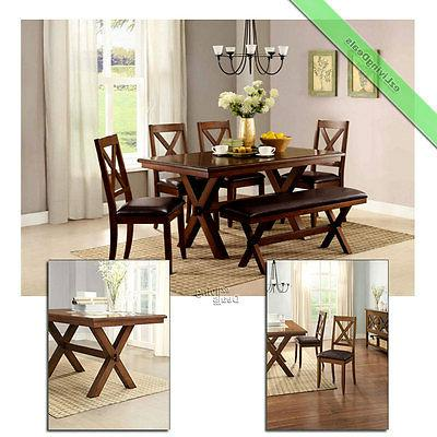 6 Piece Dining Set Maddox Table Chairs with Bench Wood Room