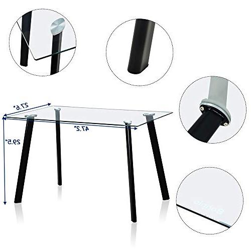 Set Modern Set 4 Persons Kitchen 4 PU Dining Tempered Glass Top