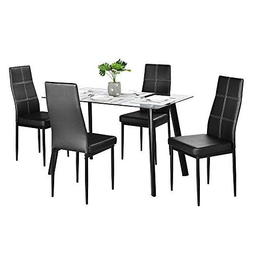 Set Modern Set Kitchen Dining 4 Chairs Dining Tempered Top