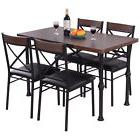 5 Piece Dining Set Table And 4 Chairs Wood Metal Kitchen Bre
