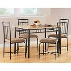 5 Piece  Dining Set Wood Metal 4 Chairs & Table Kitchen Brea