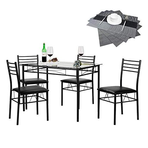 VECELO Dining Table with 4 Chairs - Black