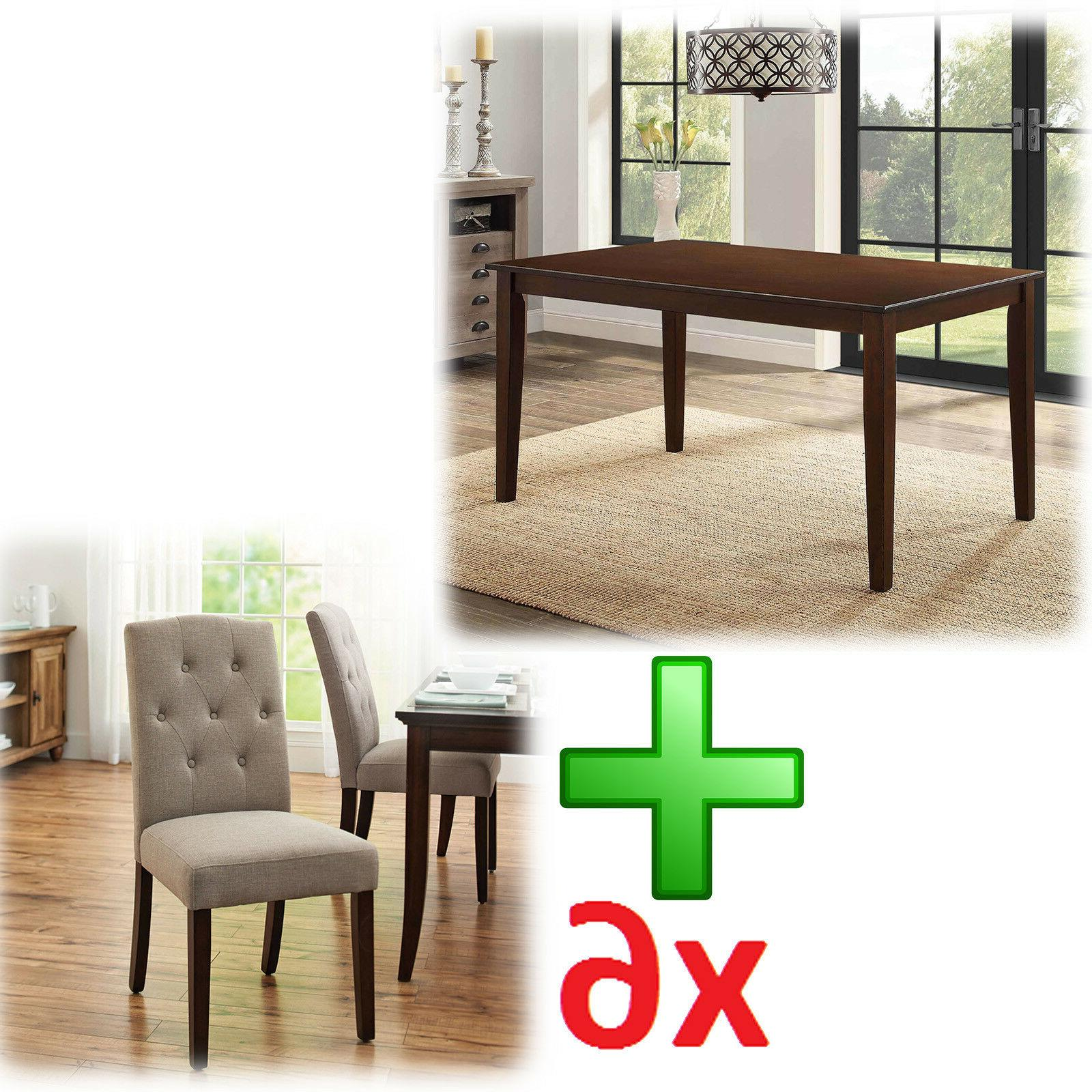 Dining Table Chairs 7 Piece Contemporary Living Kitchen