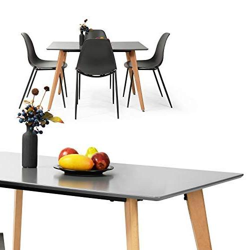 Homy Casa Dining Table Kitchen Room with Top MDF Legs,Rectangular