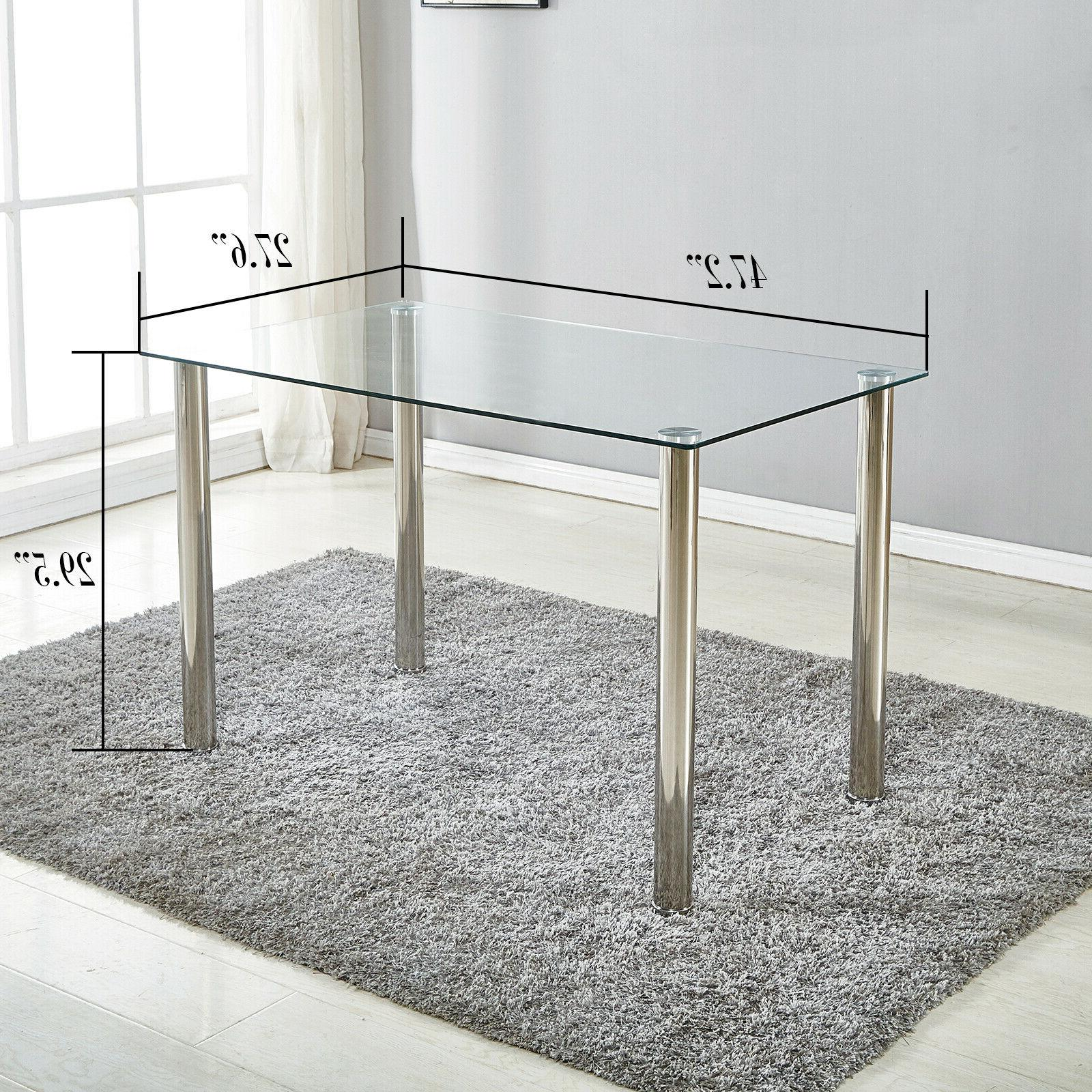 dining table metal and glass kitchen room