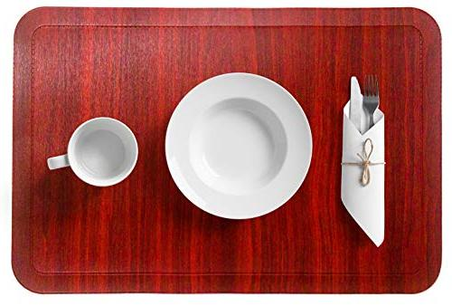 Alpiriral Table Mats Set Heat Resistant Place Easy to Scrub & Vinyl Table Table from Messes in RED