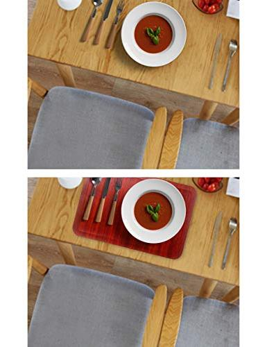 Alpiriral Dining Mats Set of Heat Place Mats Easy Scrub & Skid Vinyl Place Table Mats Protect The Table Messes & with A Nice Looking in RED