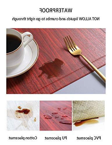 Alpiriral Mats Heat Resistant Easy Off Scrub Skid Vinyl Place Mats Table Mats Protect with in